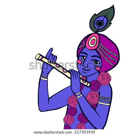 Krishna with floral wreath sits on the rock and plays the flute