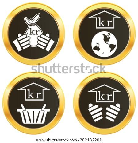 Krona Currency Symbol Representing Money Many Stock Vector 202132201