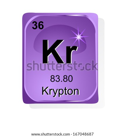 Krypton Chemical Element Atomic Number Symbol Stock Vector Royalty