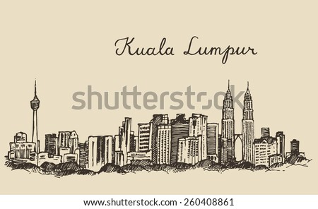 Kuala Lumpur skyline, big city architecture, vintage engraved illustration, hand drawn, sketch - stock vector
