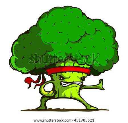 Kung Fu Broccoli isolated