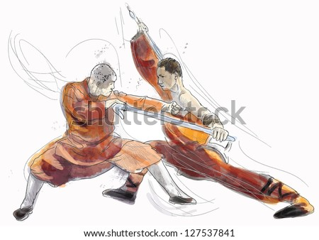 Kung Fu, Chinese martial art. /// A hand drawn illustration converted into vector of Chinese martial arts, popularly referred to as kung fu. /// Vector is editable in 4 layers. - stock vector