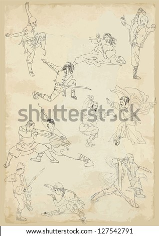 Kung fu - Chinese martial art. /// Collection of vector sketches in a simple contours. - stock vector