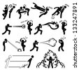 Kungfu Fighter Super Human Special Power Mutant Stick Figure Pictogram Icon - stock vector