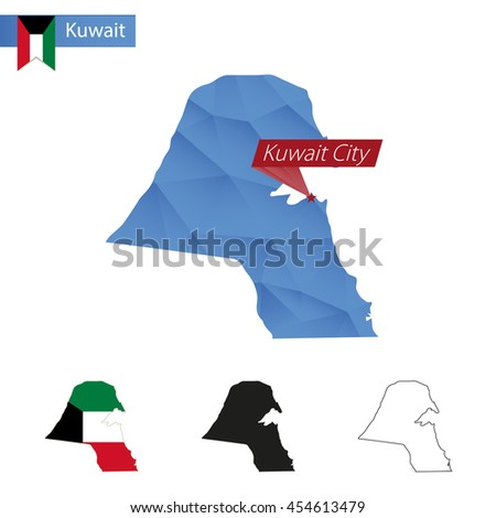Kuwait blue Low Poly map with capital Kuwait City, versions with flag, black and outline. Vector Illustration. - stock vector