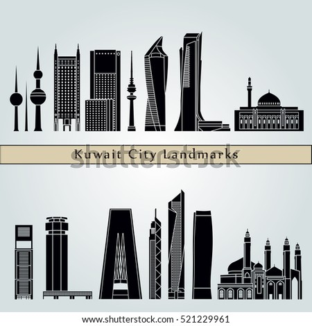 Kuwait City V2 landmarks and monuments isolated on blue background in editable vector file