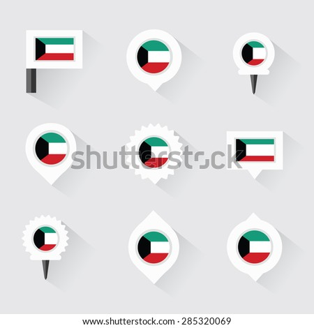kuwait flag and pins for infographic, and map design - stock vector