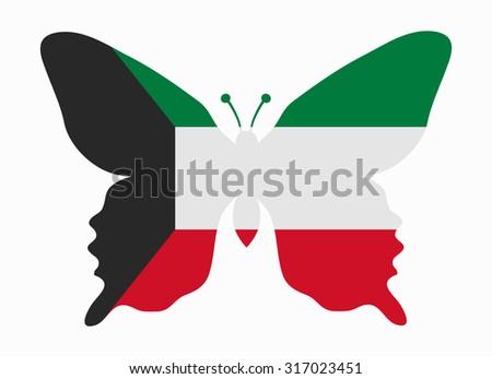 kuwait flag butterfly - stock vector