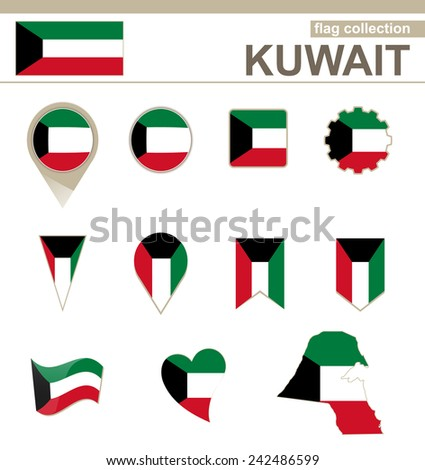 Kuwait Flag Collection, 12 versions - stock vector