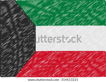 kuwait flag embroidered zigzag - stock vector