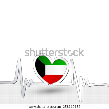 Kuwait flag heart and heartbeat line.Patriotic vector background. - stock vector