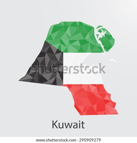 Kuwait flag map in geometric,mosaic polygonal style.Abstract tessellation,background. Vector illustration EPS10 - stock vector