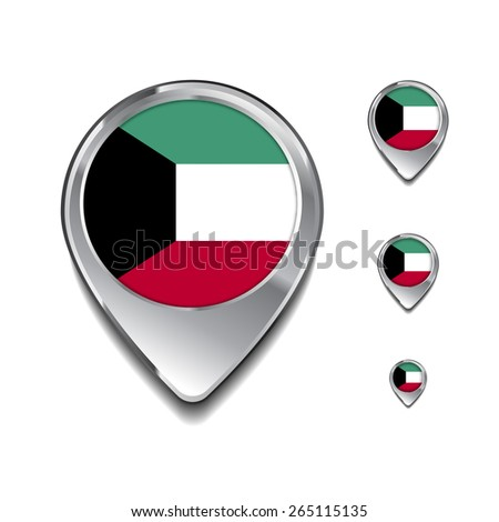 Kuwait flag map pointer. 3d Map Pointer with flag glossy button style on gray background - stock vector