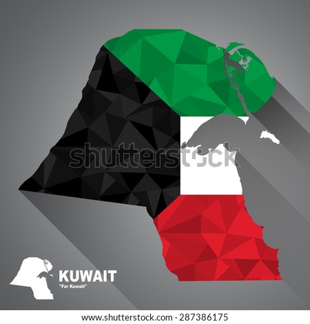 Kuwait flag overlay on Kuwait map with polygonal and long tail shadow style (EPS10 art vector) - stock vector