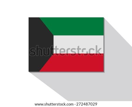 kuwait long shadow flag - stock vector