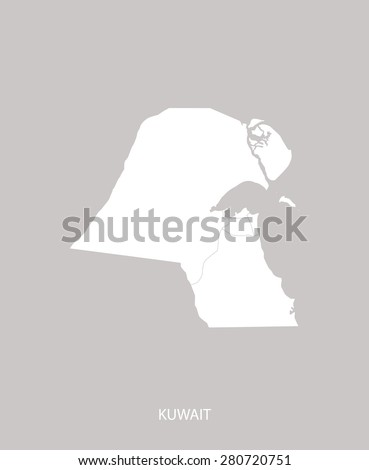 Kuwait map outlines in faded grey background, Kuwait map vector in contrasted light color design for brochure template, tourist map, advertisement, web page design, science and education uses - stock vector