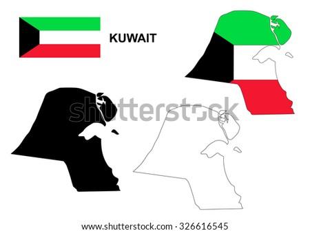 Kuwait map vector, Kuwait flag vector, isolated Kuwait - stock vector