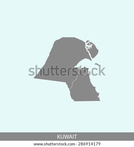 Kuwait map vector, Kuwait map outlines in a contrasted background for brochure design and publication uses - stock vector