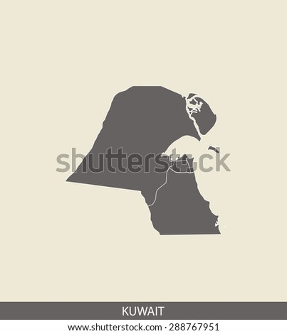 Kuwait map vector, Kuwait map outlines in a contrasted grey background for brochure and web-page templates and science & publication uses - stock vector