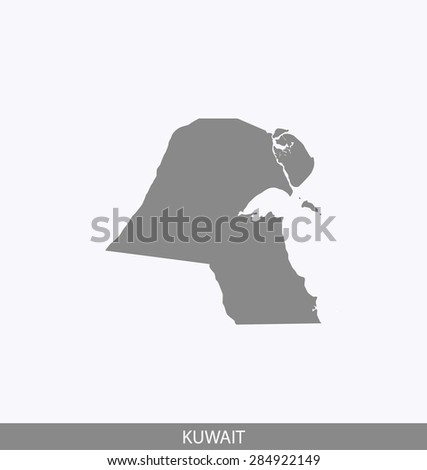 Kuwait map vector, Kuwait map outlines in contrasted grey background for brochure design and publication uses - stock vector