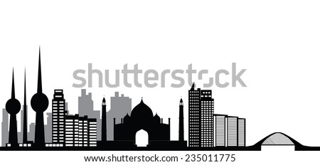 Kuwait skyline with buildings bridge and houses