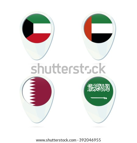 Kuwait, United Arab Emirates, Qatar, Saudi Arabia flag location map pin icon. Vector Illustration. - stock vector