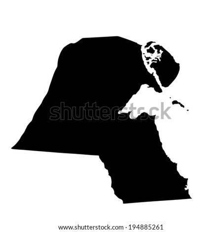 Kuwait vector map high detailed silhouette illustration isolated on white background. - stock vector