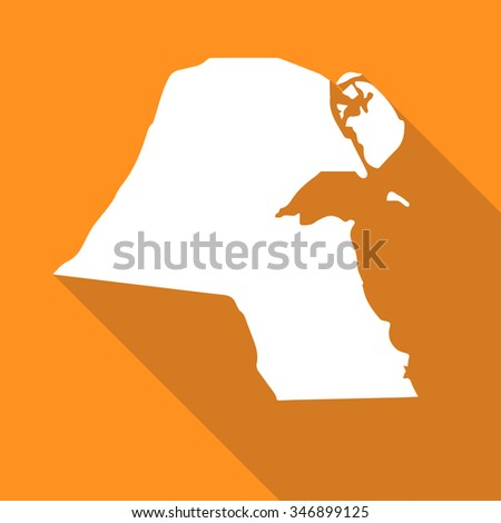 Kuwait white map,border flat simple style with long shadow on orange background