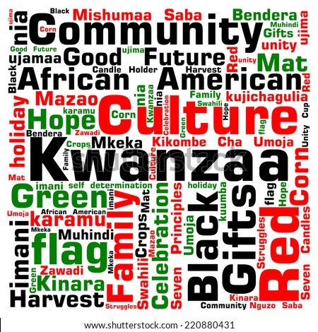 Kwanzaa word cloud: Infographic shows in words (also in Swahili ) the colors, principles, concepts, and symbols of the African American holiday.  - stock vector