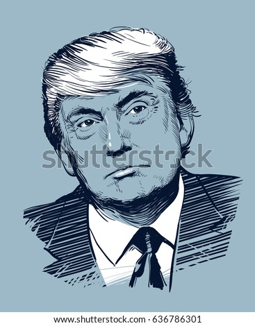 Kyiv, Ukraine -- May 10, 2017. Portrait of Donald Trump. Hand drawn vector illustration. .eps10. Editorial use only.