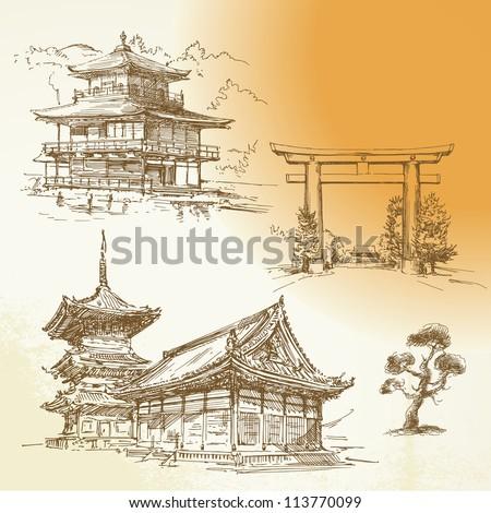 Kyoto, Nara, japanese heritage - hand drawn collection - stock vector