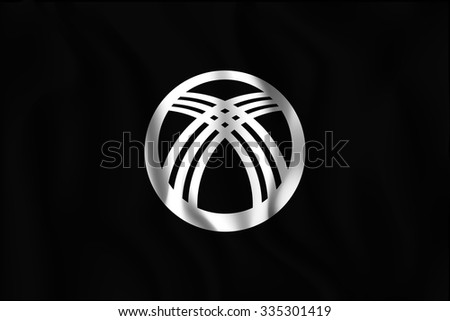 Kyrgyzstan Black and White Version Flag. Rectangular Shape Icon with Wavy Effect