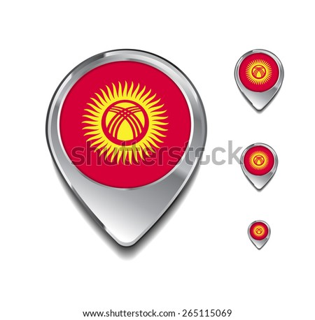 Kyrgyzstan flag map pointer. 3d Map Pointer with flag glossy button style on gray background - stock vector