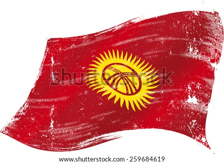 Kyrgyzstan grunge flag. Flag of Kyrgyzstan in the wind with a texture - stock vector