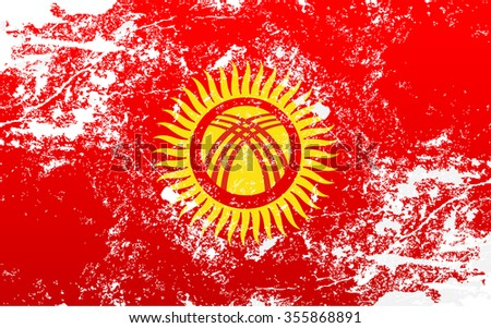Kyrgyzstan Grunge Texture Flag. Grunge effect can be cleaned easily.