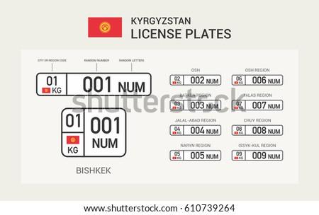 kyrgyzstan license plates template stock vector 610739264 shutterstock