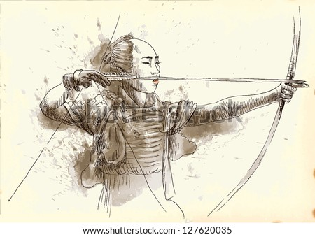 Kyudo - modern Japanese martial art. /// A hand drawn illustration converted into vector of an Samurai shooting an arrow from a bow. Vector is editable in 5 layers. - stock vector
