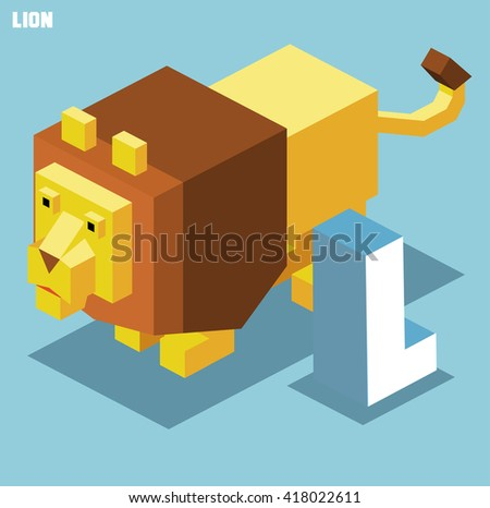 L for Lion. Animal Alphabet collection. vector illustration