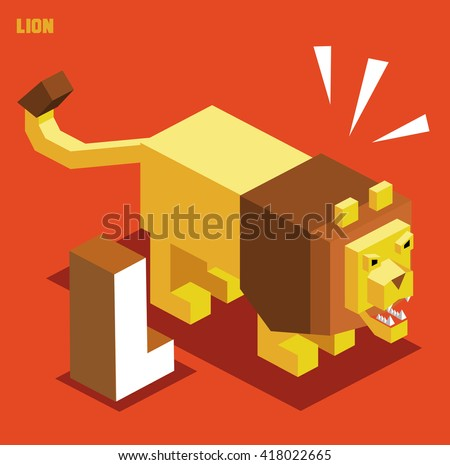 L for lion. Animal Alphabet collection. vector illustration - stock vector