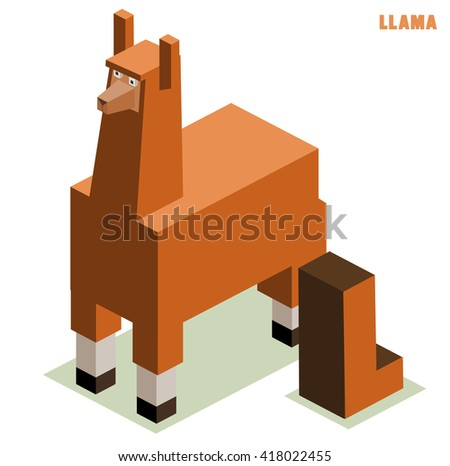 L for llama Animal Alphabet - stock vector