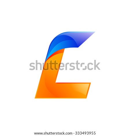 L letter blue and Orange logo design Fast speed design template elements for application. - stock vector