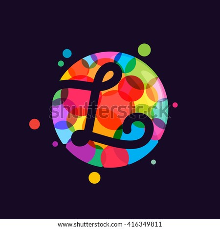 L letter logo with mosaic pattern. Abstract multicolored vector design template elements for your application or corporate identity. - stock vector