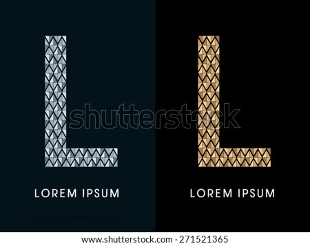 L ,Luxury Abstract Jewelry Font, designed using gold and silver colors geometric shape on dark background, sign ,logo, symbol, icon, graphic, vector. - stock vector