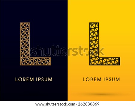 L ,Luxury font, designed using gold and black triangle geometric shape. on dark and yellow  background, sign ,logo, symbol, icon, graphic, vector. - stock vector