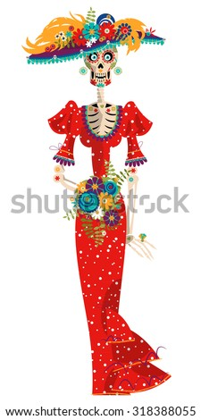 La Calavera Catrina. Elegant Skull. Dia de Muertos. Mexican tradition. Vector illustration - stock vector