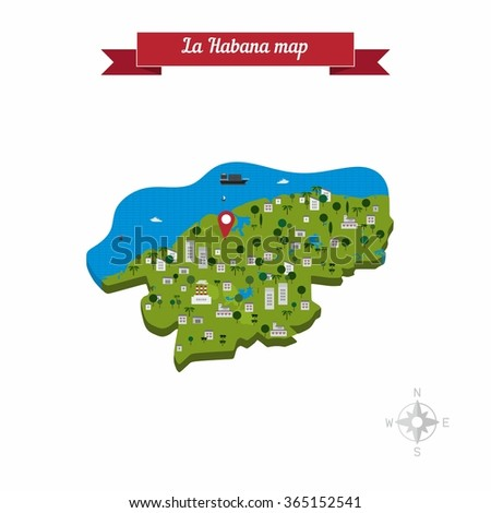 La Habana Republic Cuba Map Flat Stock Photo Photo Vector
