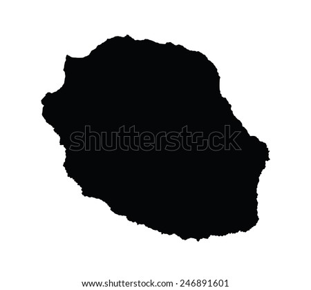 La Reunion vector map, isolated on white background. High detailed silhouette illustration. - stock vector