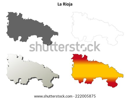 La Rioja blank detailed outline map set - vector version - stock vector