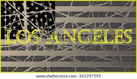 LA Vintage Worn USA Flag - stock vector