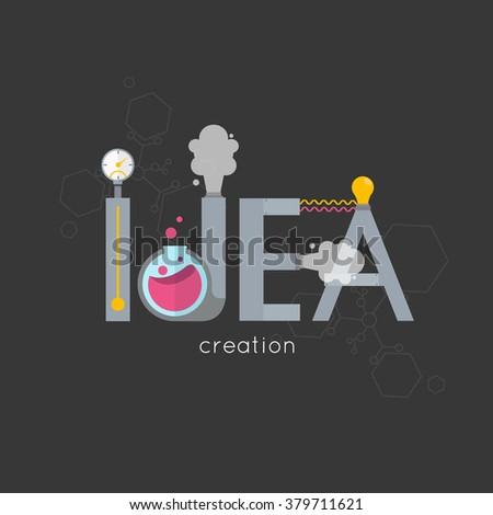 Lab Ideas Design.The creation of creative ideas.Creative process.Development production, plant and creation, invention and solution, innovation and discovery. - stock vector